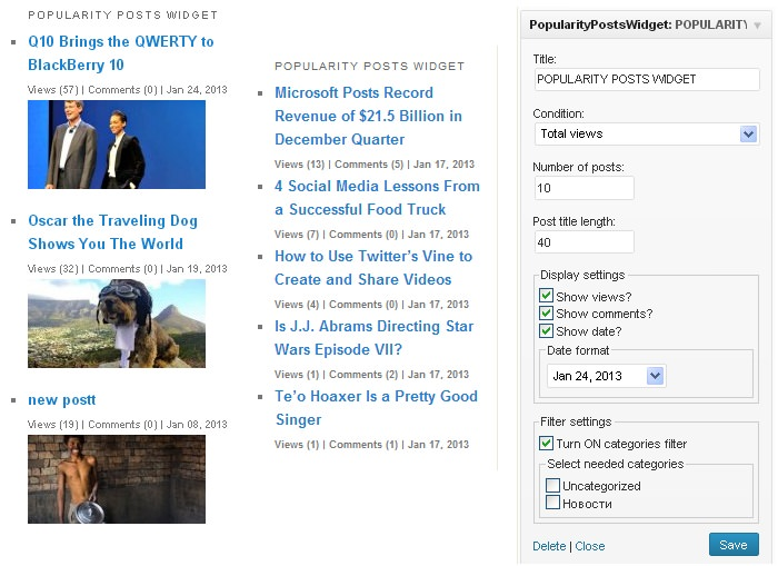 Popularity Posts Widget